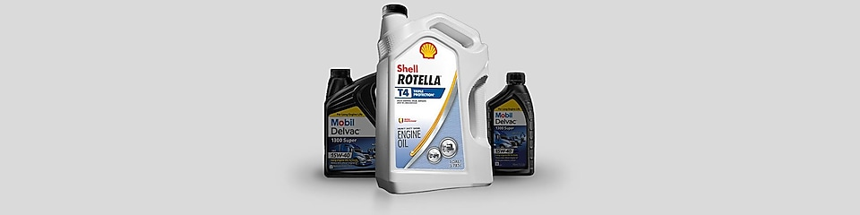 Shell and Mobil engine oil can